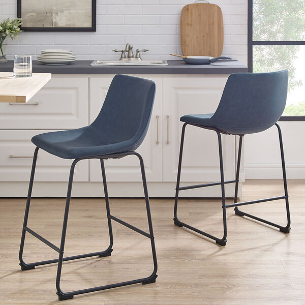 Navy Blue and Black Counter Stool, Set of 2, image 1