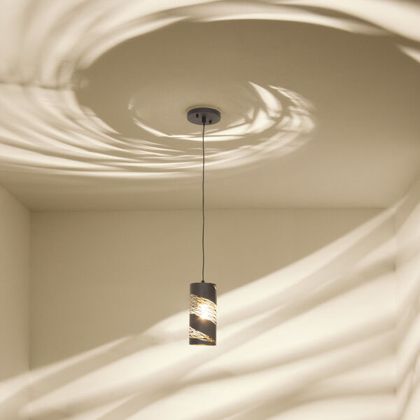 Flow Matte Black French Gold One-Light Mini Pendant, image 4