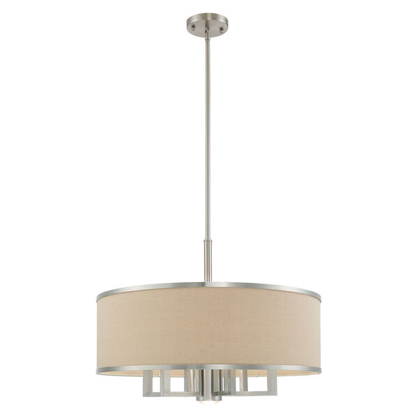 Park Ridge Brushed Nickel 24-Inch Seven-Light Pendant Chandelier with Hand Crafted Ash-Gray Linen Hardback Shade, image 3