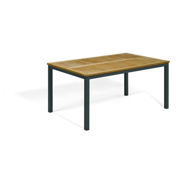 Travira Natural Tekwood Top and Carbon Powder Coated Aluminum Frame 63-Inch Rectangular Dining Table, image 1