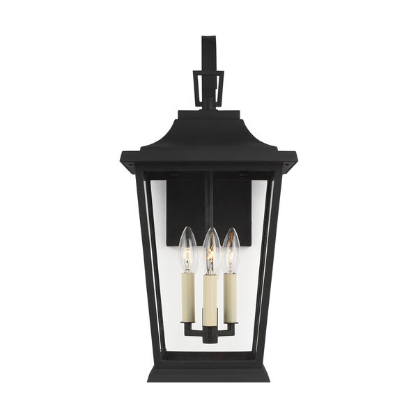 Warren Textured Black Three-Light Outdoor Wall Lantern, image 1