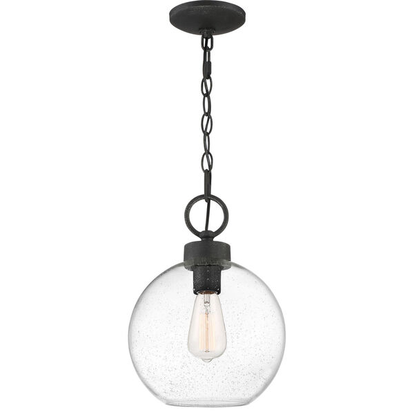 Barre Grey Ash 10-Inch One-Light Outdoor Hanging Lantern with Clear Seedy Glass, image 2