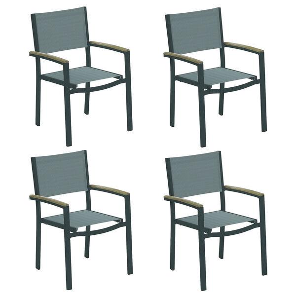 Travira Titanium Sling Vintage Tekwood Armcaps and Carbon Powder Coated Aluminum Frame Armchair , Set of Four, image 1