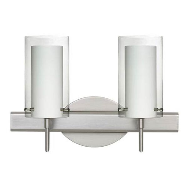 Pahu Satin Nickel Two-Light Bath Fixture with Clear and Opal Glass, image 1