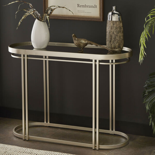 Samantha Champagne Silver Oval Antique Mirror Top Sofa Table, image 6