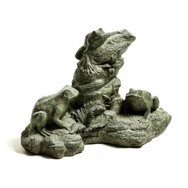 Verde Fiberstone Frog Trio Figurine, image 1