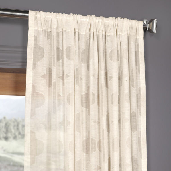 Ivory Tile Patterned Faux Linen Sheer 108 x 50 In. Curtain Single Panel, image 3