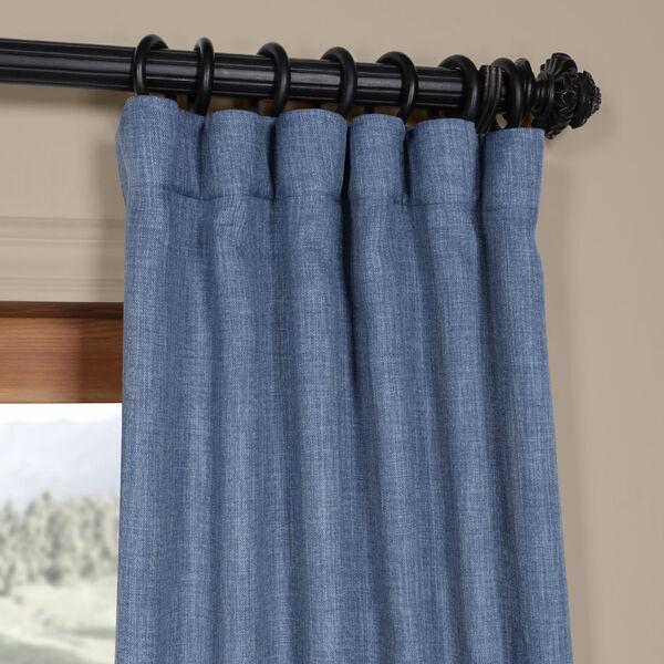 Blue Denim 96 x 50 In. Faux Linen Blackout Curtain Single Panel, image 2