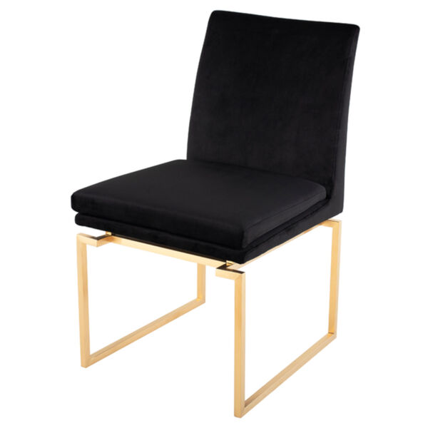 Savine Black and Brushed Gold Dining Chair, image 1