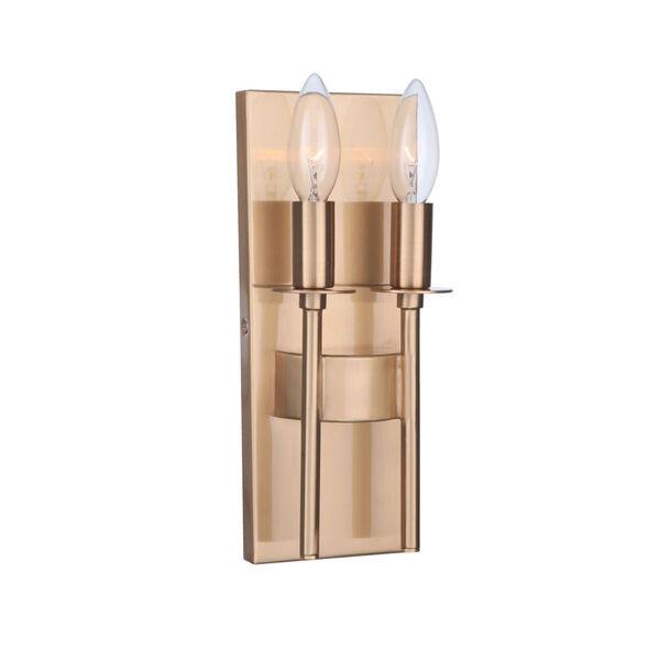 Larrson Satin Brass Two-Light Wall Sconce, image 1
