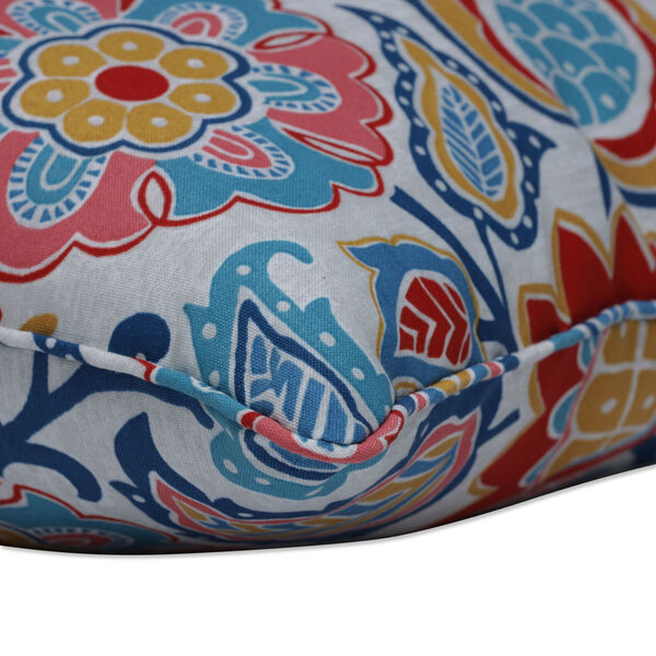 Moroccan Blue Red Yellow Throw Pillow, Set of Two, image 2
