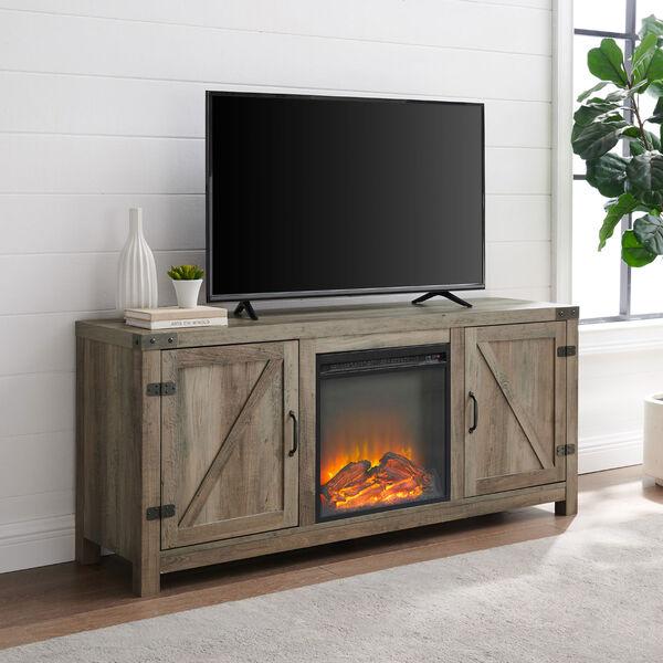58-Inch Barn Door Fireplace TV Stand - Grey Wash, image 2