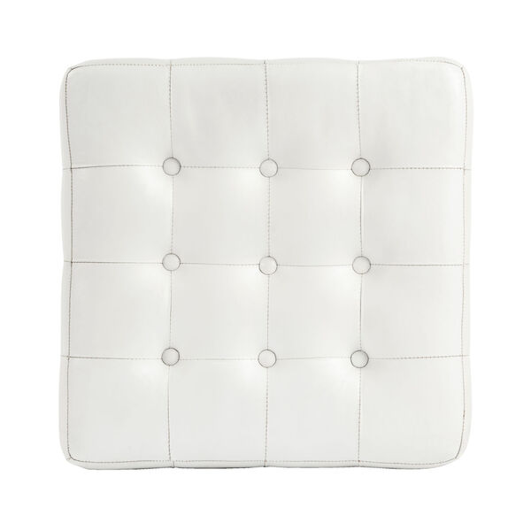 Accent Seating Leon White Leather Ottoman, image 6