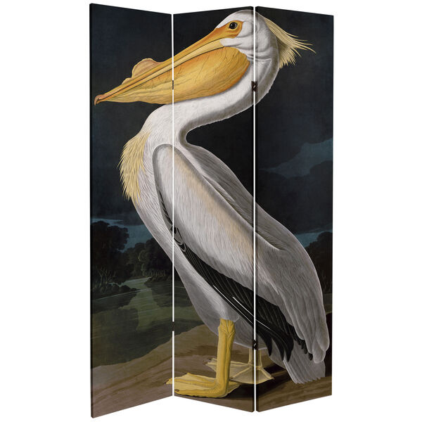 6-Foot Tall Double Sided Audubon Pelican Canvas Room Divider, image 3
