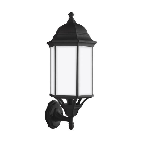 Sevier Black Nine-Inch One-Light Outdoor Uplight Wall Sconce with Satin Etched Shade, image 1