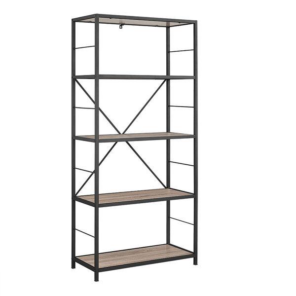 60-inch Rustic Metal and Wood Media Bookshelf - Driftwood, image 2