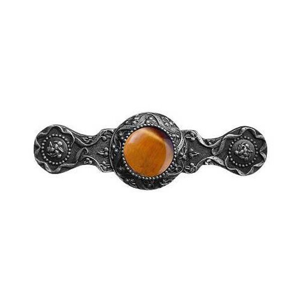 Antique Pewter Victorian Jewel Tiger Eye Pull, image 1