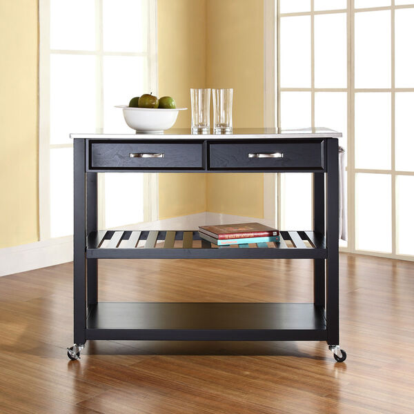 Stainless Steel Top Kitchen Cart/Island With Optional Stool Storage in Black Finish, image 4