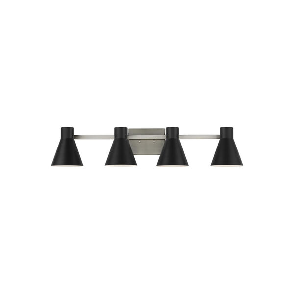 Towner Gray Four-Light Bath Vanity with Black Shade, image 1