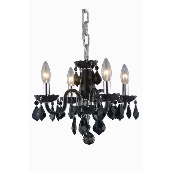 Rococo Black Four-Light Chandelier with Jet/Black Royal Cut Crystals, image 1