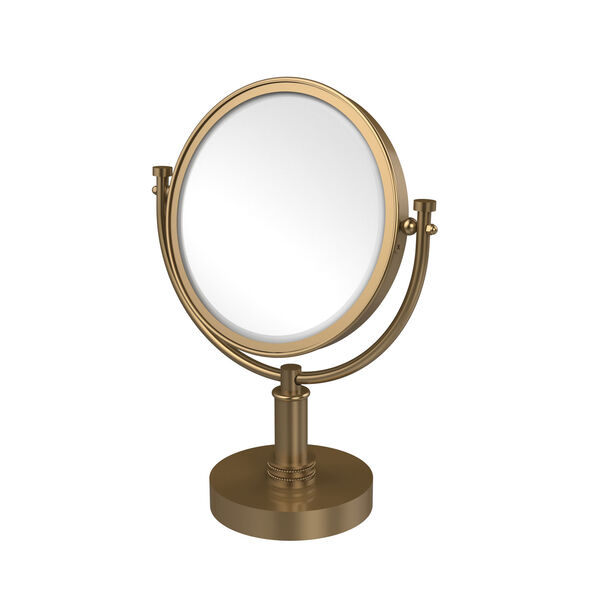 8 Inch Vanity Top Make-Up Mirror 2X Magnification, Brushed Bronze, image 1