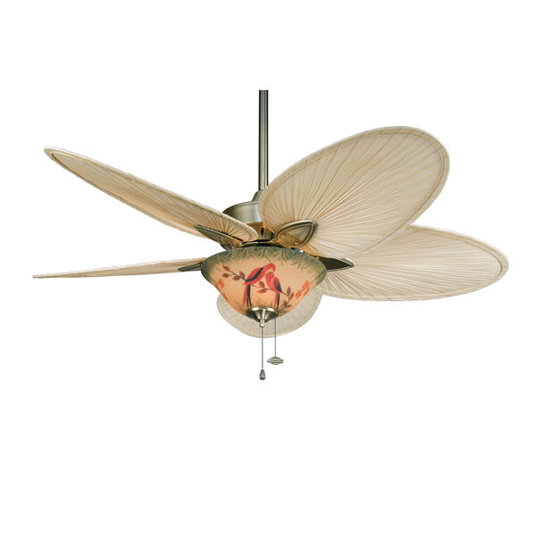 Windpointe Antique Brass Ceiling Fan with Narrow Oval Natural Palm Blades, image 3