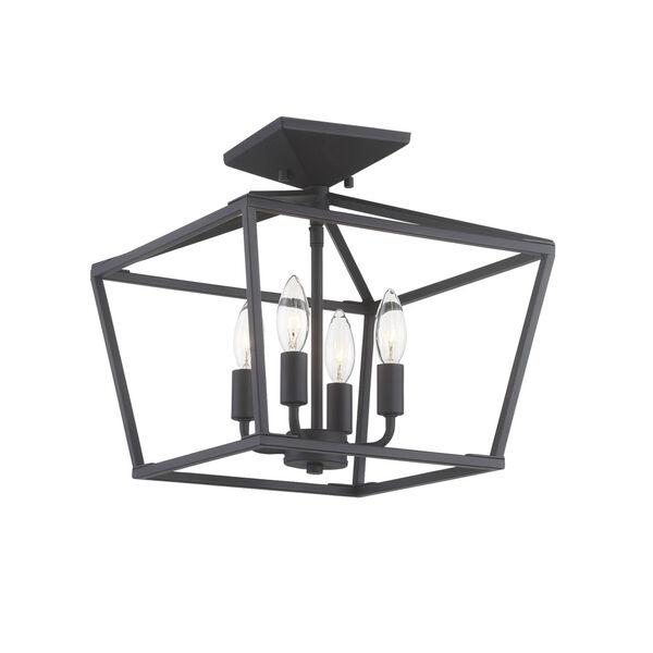 Townsend Matte Black Four-Light Semi-Flush, image 2