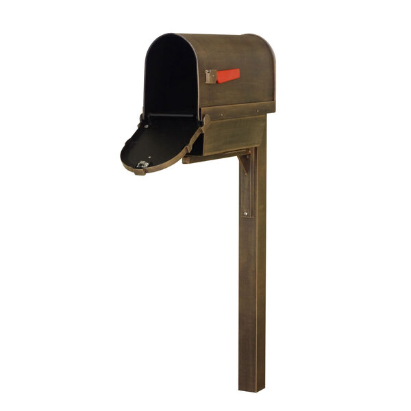 Savannah Curbside Copper Mailbox with Newspaper Tube and Wellington Mailbox Post, image 3