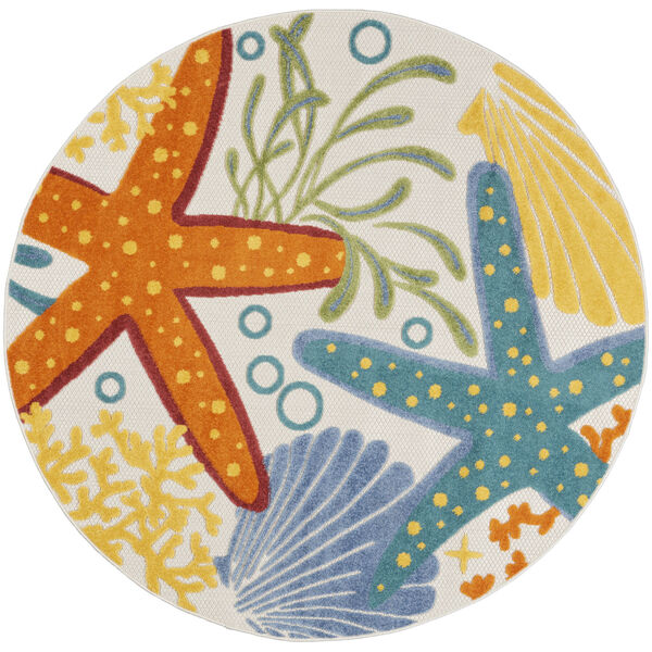 Aloha Orange and Blue 4 Ft. x 4 Ft. Round Indoor/Outdoor Area Rug, image 2