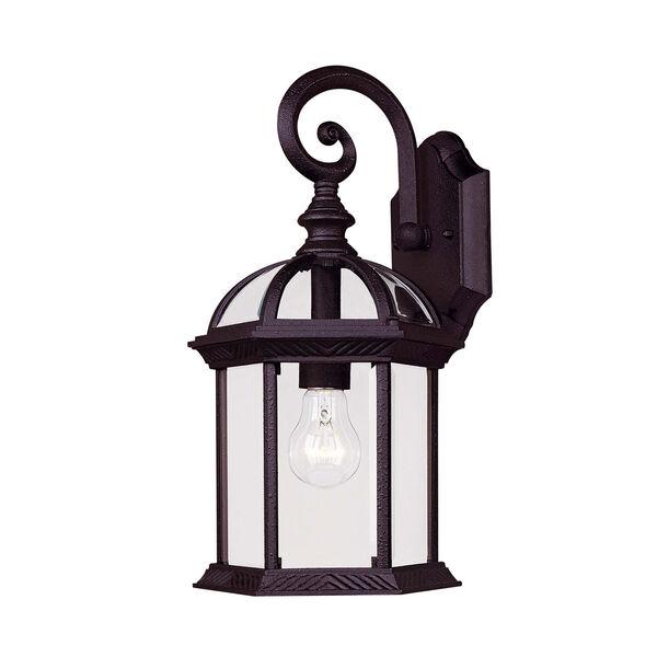 Kensington Medium Textured Black Outdoor Wall-Mounted Lantern, image 1