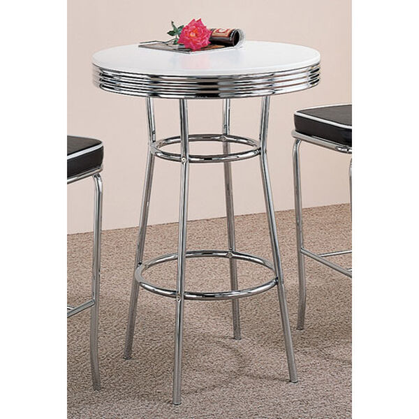 Cleveland Fifties Soda Fountain Chrome Bar Table with White Top, image 1