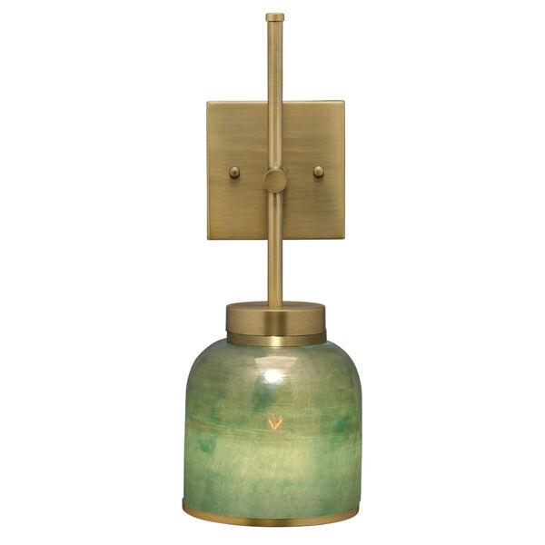 Vapor Antique Brass and Aqua Metallic Glass One-Light Wall Sconce, image 6