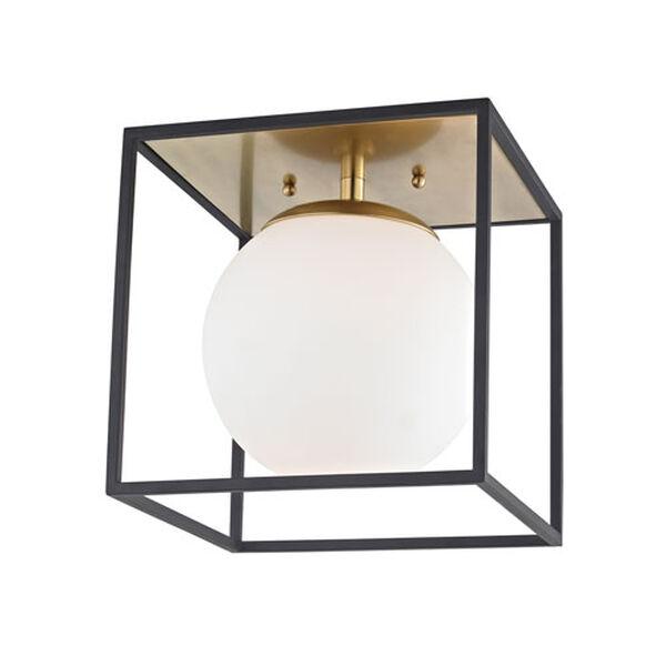 Hugo Aged Brass 10-Inch One-Light Flush Mount, image 1