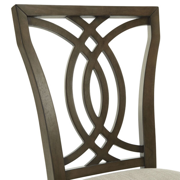 Gloria Dark Walnut and Beige Dining Chair, Set of Two, image 6