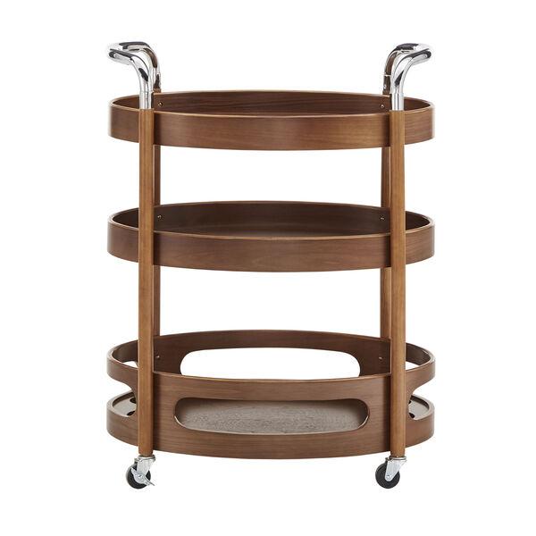 Andrea Walnut Oval Bar Cart, image 2