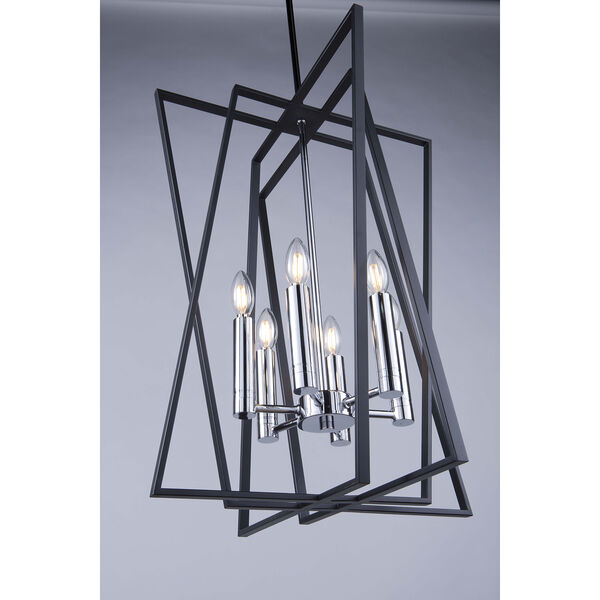 Middleton Matte Black and Polished Chrome Six-Light Geometric Chandelier, image 2