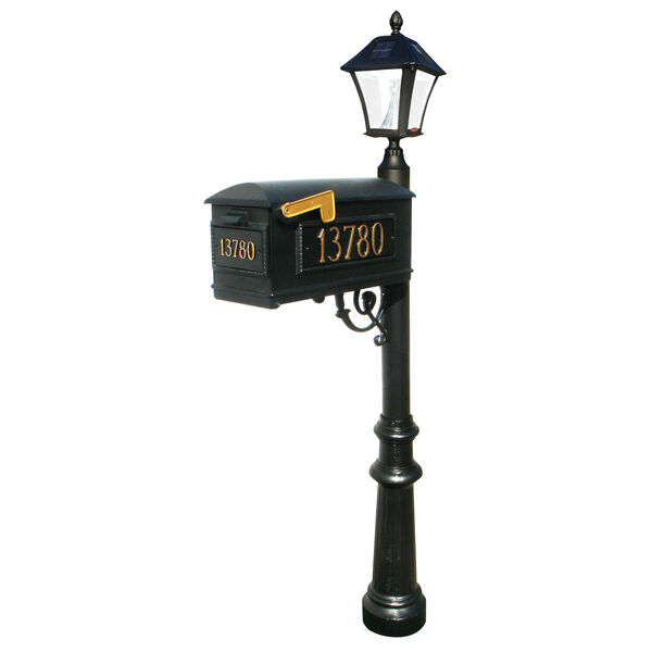 Lewiston Post with Economy 1 Mailbox, Fluted Base in Black Color with Black Solar Lamp, image 4