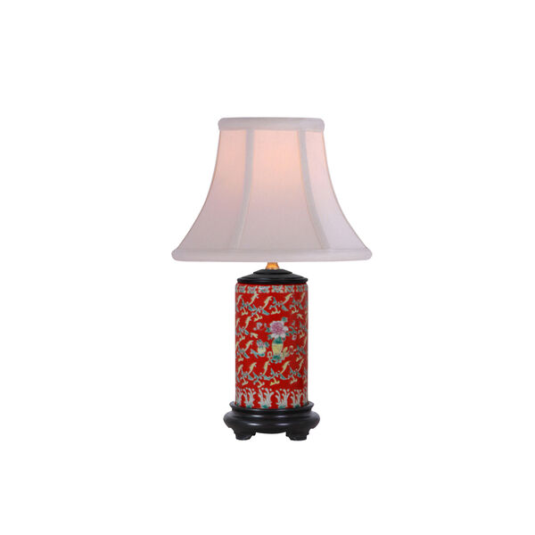 Porcelain Ware One-Light Red Small Lamp, image 1