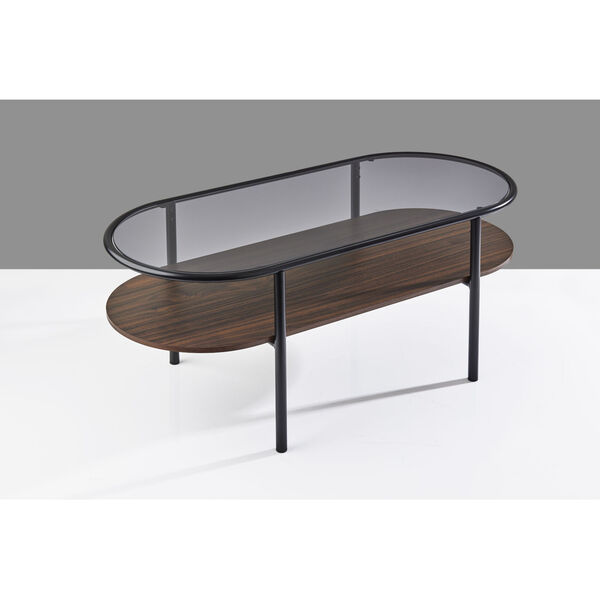 Gavin Black and Walnut Two-Tiered Coffee Table, image 4