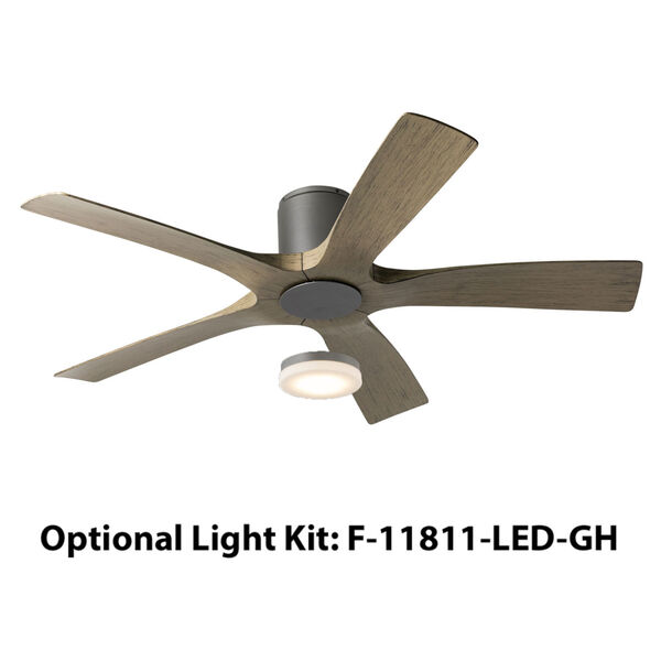 Aviator Graphite and Weathered Gray 54-Inch ADA LED Flush Mount Ceiling Fan, image 4
