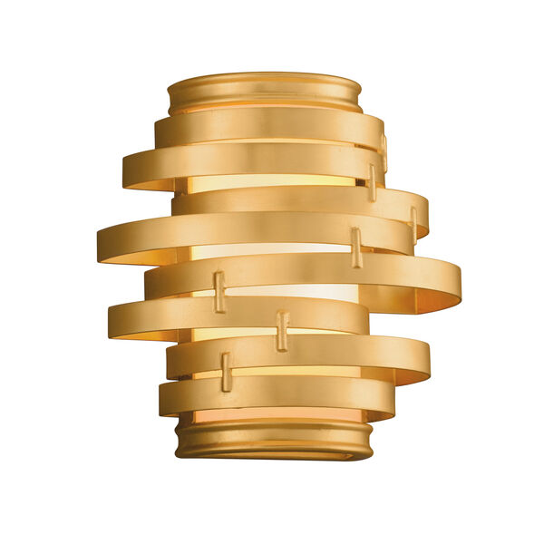 Vertigo Gold Leaf with Polished Stainless Accents 10-Inch LED Wall Sconce, image 1
