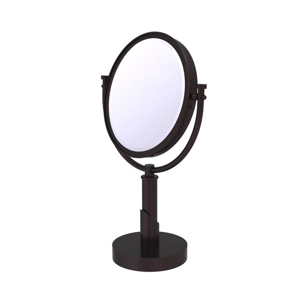 Tribecca Antique Bronze Eight-Inch Vanity Top Make-Up Mirror 2X Magnification, image 1