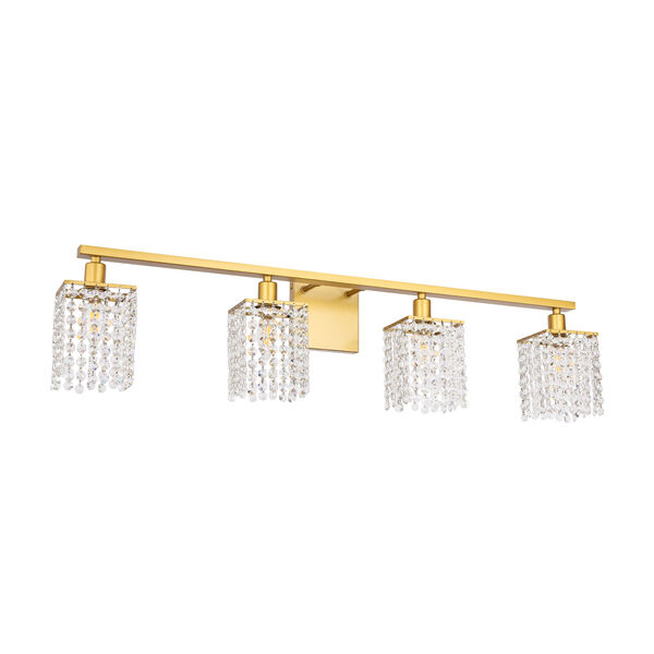Phineas Brass Four-Light Bath Vanity with Clear Crystals, image 5