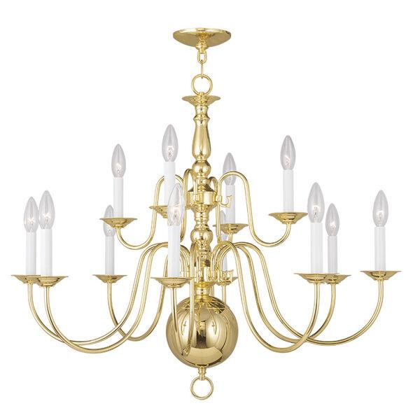 Williamsburgh Polished Brass 12 Light Chandelier, image 1