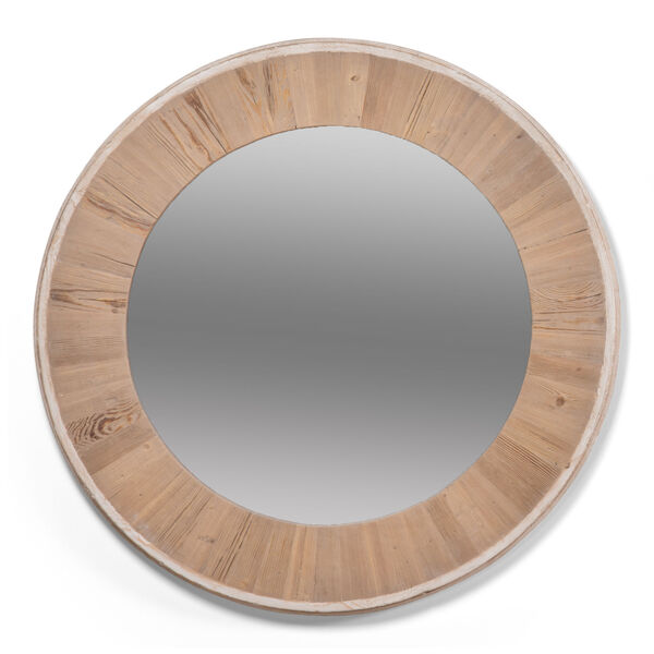 White 30 x 30 Inches Circular Wood Mirror, image 1
