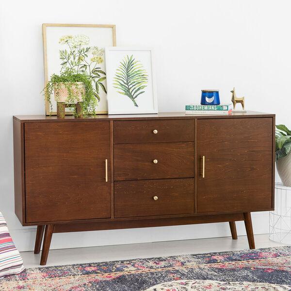 60-Inch Mid Century Modern Walnut Wood TV Stand, image 1