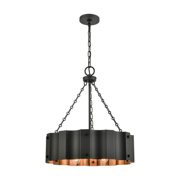 Clausten Black and Gold Four-Light Chandelier, image 1