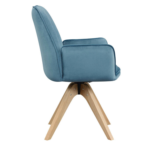 Miranda Velvet Blue Natural Wood Accent Chair, image 4
