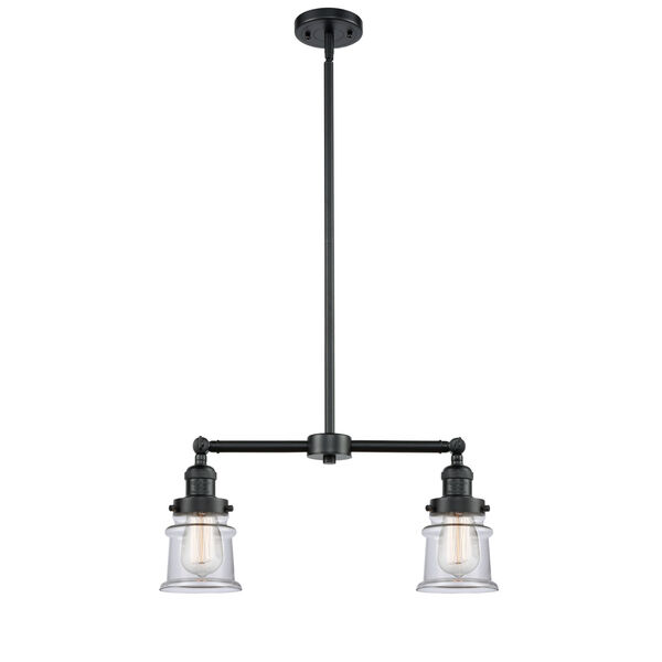 Franklin Restoration Oil Rubbed Bronze 21-Inch Two-Light LED Chandelier with Small Clear Canton Shade, image 1