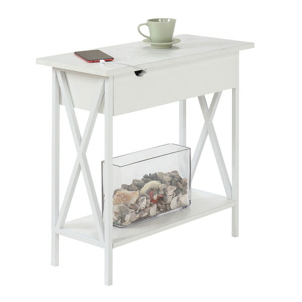 Tucson Flip Top End Table with Charging Station and Shelf, image 3